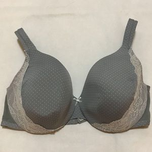 Cacique 42D gray polka dot full coverage bra